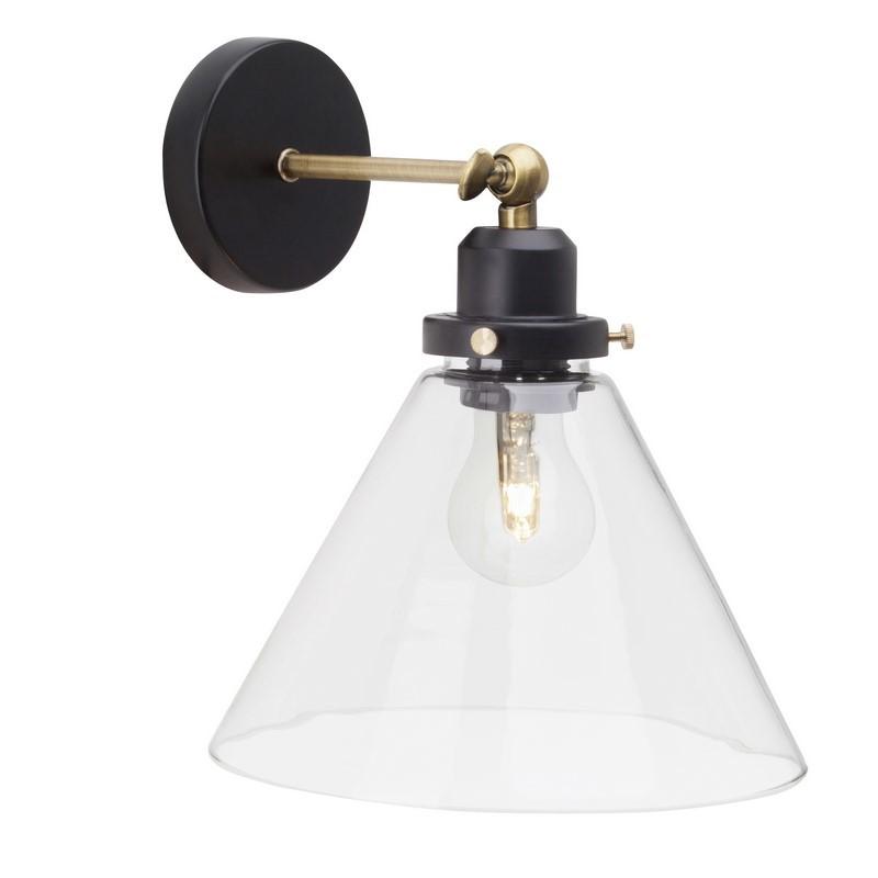 Zwarte, Messing Antiek wandlamp Aurelie