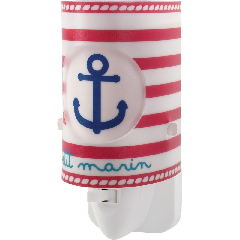 Marine stopcontact wandlamp kinderen - Blauw Rood