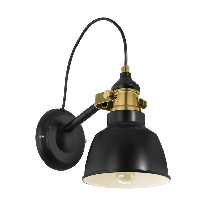 Landelijke wandlamp Jordan Staal Zwart/Bronskleur