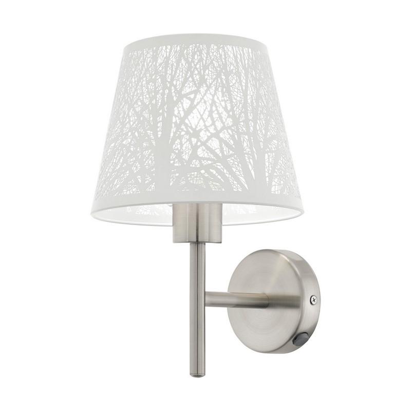 Stalen wandlamp Nika nikkel