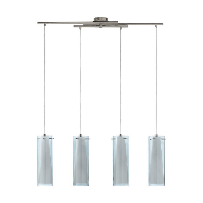 Baunei eettafellamp Nikkel dubbellaags glas