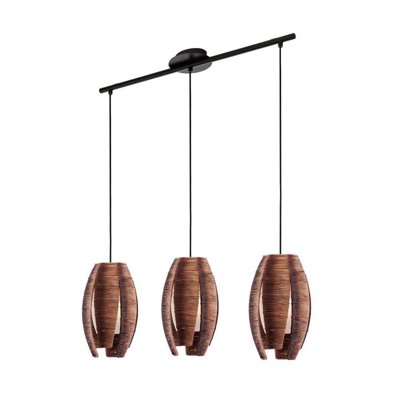 Eettafel hanglamp Maggio Bruine bast met binnenin glas