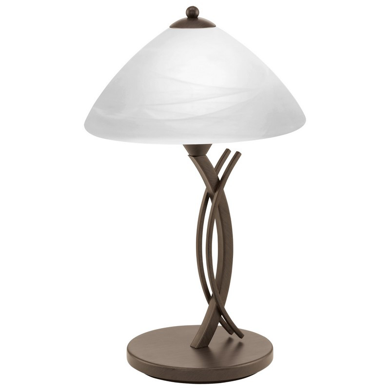 Cerrada tafellamp Donkerbruin met albaster glas