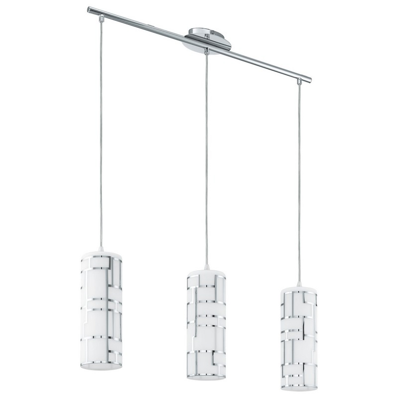Chroom wit glazen eettafel hanglamp 3 lampenkappen