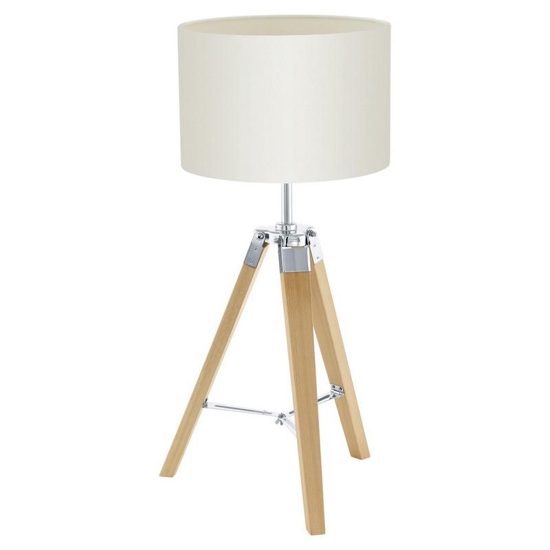 Landelijke Industrieel Houten Stoffen Beige tafellamp Lanah