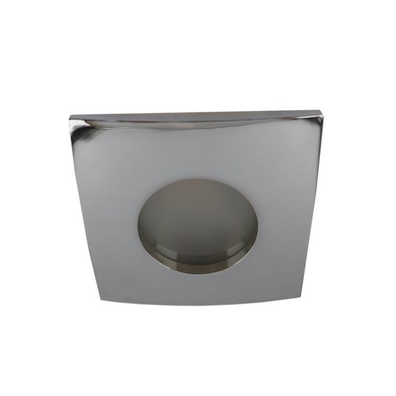 Vierkante badkamer inbouwspot Pelle, chroom