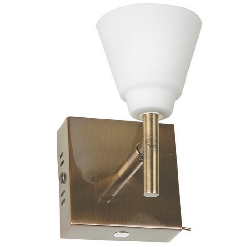 Klassieke wandlamp Liset, brons en wit