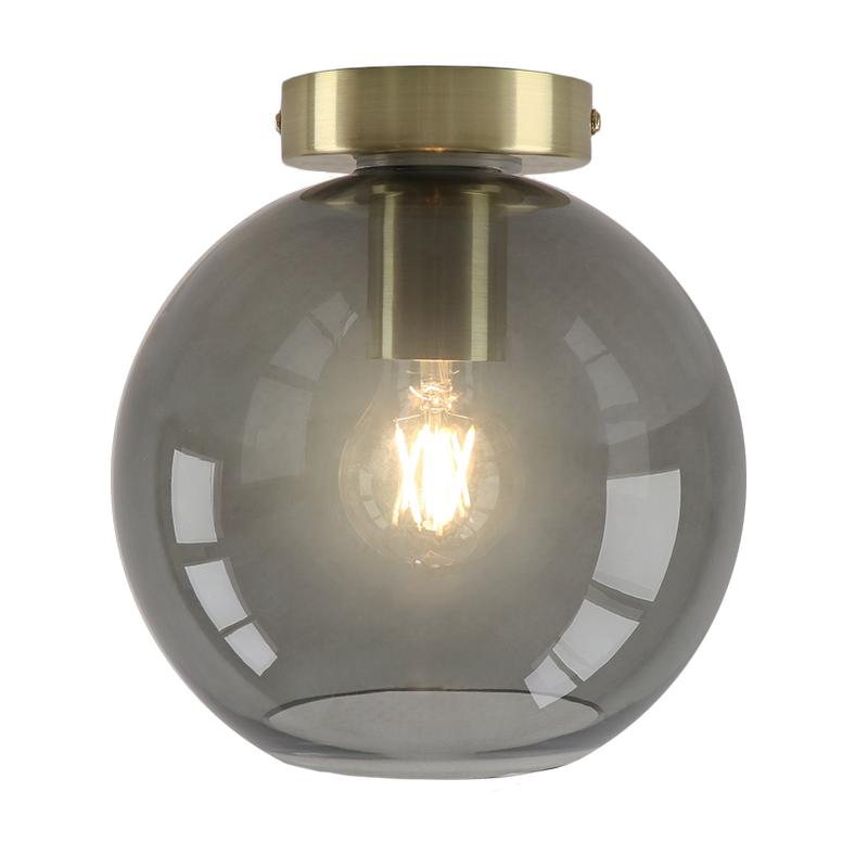 Design gouden glazen plafondlamp Marwin, smoke grey glazen bol