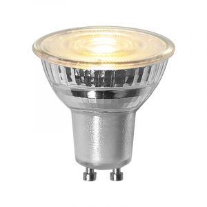3 staps dimbare GU10 LED, transparant, 4,4W warm wit (3000k)