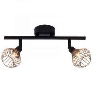 Landelijke Plafondlamp Jahleniya - Zwart, Koper
