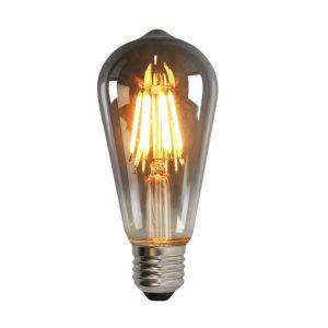 Dimbare E27 Edison LED lamp, ST58, 5w, Smoke glas, 2200k