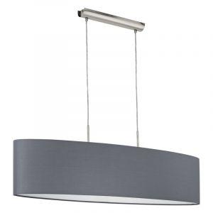 Eettafel hanglamp Abano Grijze stoffen lampenkap