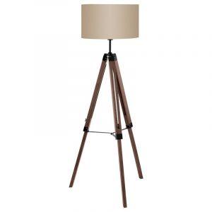 Industriele vloerlamp Riley Hout/Staal Noot