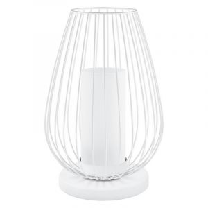 Landelijke Brocant Glazen Witte tafellamp Laurine