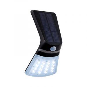 Zwarte moderne buitenlamp met bewegingssensor, Lydie, kunststof, met verstelbare lichtkleur