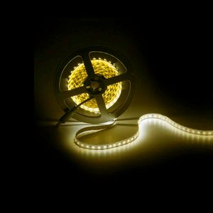 5m LED strip, geel, 12V, 120 leds p/m, 9,6W