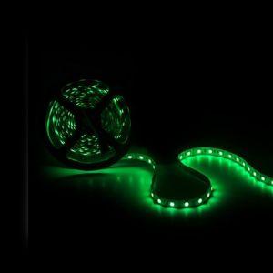 5m IP65 LED strip, groen, 12V, 120 leds p/m, 9,6W