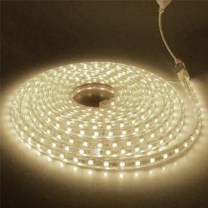 5 meter 220V LED strip, Warm wit, IP67