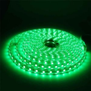 5 meter 220V LED strip, groen, IP67