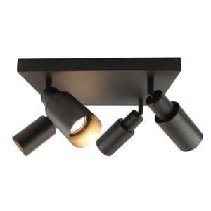 Moderne vierkante plafondspot Elena, zwart, 4L