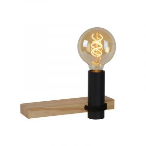 Zwarte wandlamp Tanner, hout, met schakelaar