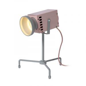 Roze Tafellamp Beamer, staal, met aan/uit schakelaar op het snoer