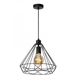 Zwarte hanglamp Kyara, Rond