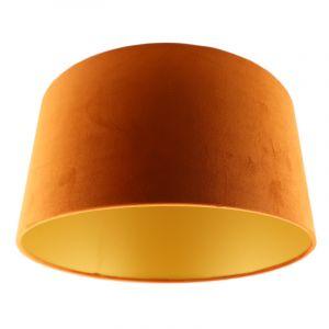Oranje en gouden velours lampenkap Melanie, 50 cm