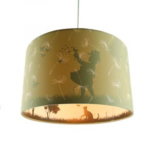 Olijfgroene kinderkamer hanglamp Vlinders