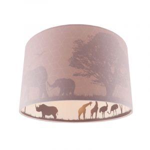 Roze dieren kinderkamer plafondlamp Safari, Binnenzijde doorschijnend
