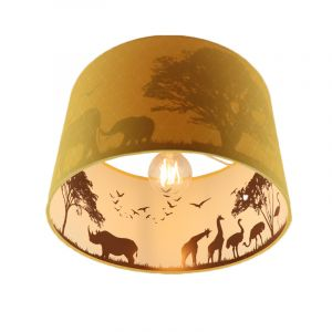 Gele dieren kinderkamer plafondlamp Safari, Binnenzijde doorschijnend