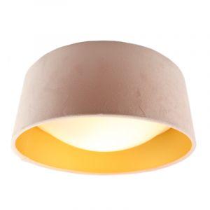 Lichtroze velours plafondlamp met gouden binnenzijde
