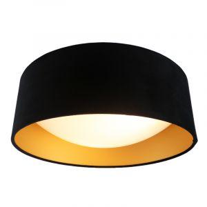 Zwarte velours plafondlamp Dewy met gouden binnenzijde, 40cm