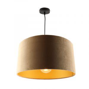 Hanglamp Urvin, taupe met goud velours, 50 cm