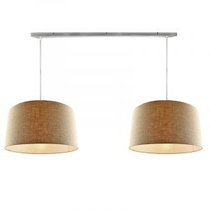 Staal 2L hanglamp met linnen  50cm lampenkappen