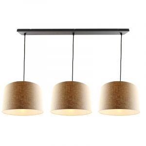 Zwarte 3L hanglamp met linnen  30cm lampenkappen
