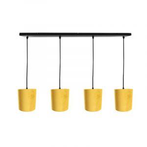 Zwarte hanglamp 4L met 15 cm velours geel/gouden lampenkappen