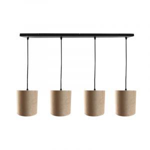 Zwarte hanglamp 4L met 15 cm velours taupe/gouden lampenkappen