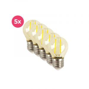 5-pack dimbare Tekalux Melchis E27 LED kogel, 4w warm wit