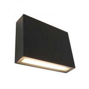 Zwarte up/down buitenlamp Cailey, met geïntegreerd LED, klein,vierkant
