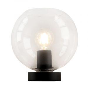 Zwarte Design tafellamp Giulio, transparante bol, met touchdimmer