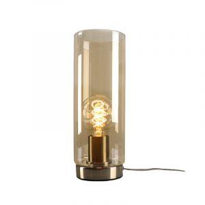 Stalen Design tafellamp Hatice met amberkleurige glazen koker