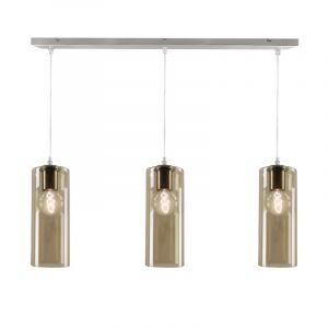 Stalen design hanglamp Joany met 3 amberkleurige glazen kokers