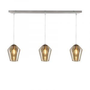 Stalen design hanglamp 130 cm Laurence met 3 amberkleurige glazen diamant kappen