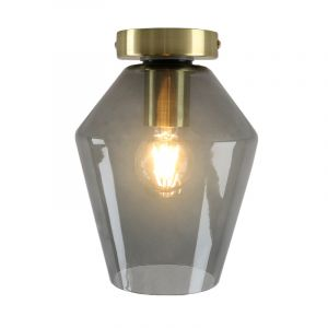 Design gouden glazen plafondlamp Marwin, smoke grey diamant