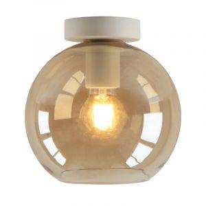 Witte glazen design plafondlamp Marvin, Amber bol