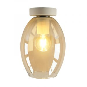 Witte glazen design plafondlamp Marvin, Amber ovaal
