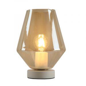 Witte glazen design tafellamp Mavis, Amber diamant