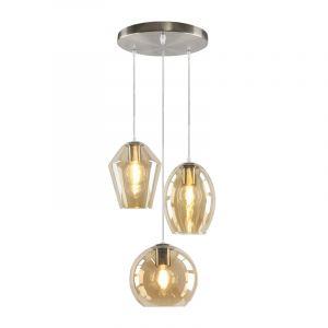 Ronde Design hanglamp Lazaro met 3 amberkleurige kappen