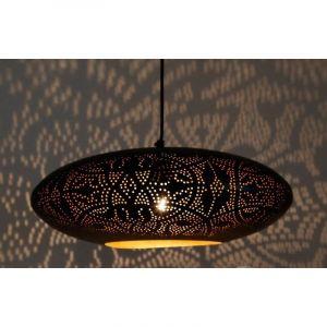 Mat zwart, bladgoud oosterse hanglamp Zina, Metaal